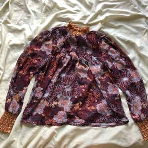 "floral ""vintage"" high neck long sleeve blouse"
